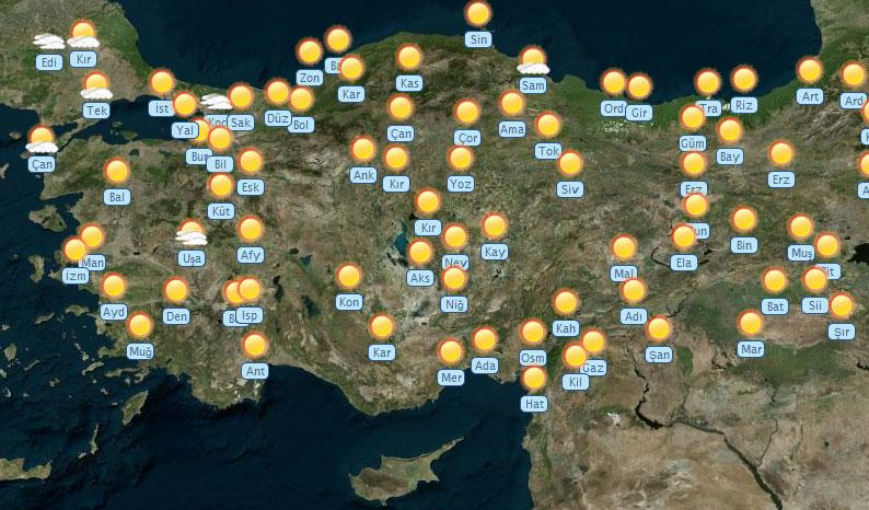 10 Ekim Perşembe günü beklenen sıcaklık ve hava durumu ortalama olarak