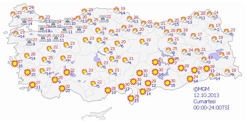 12 Ekim Cumartesi  günü beklenen sıcaklık ve hava durumu ortalama olarak