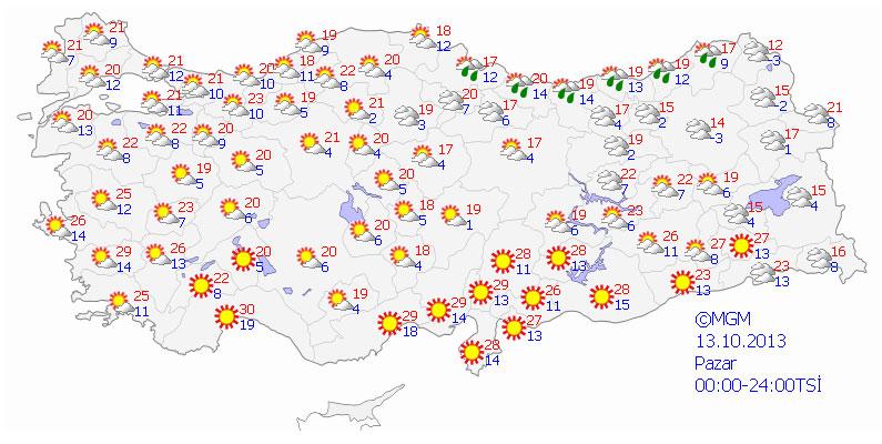 13 Ekim Pazar  günü beklenen sıcaklık ve hava raporu ortalama zıcaklık değerleri