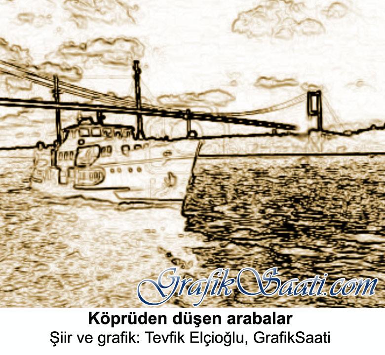 Köprüden düşen arabalar Şiir ve grafik: Tevfik Elçioğlu, Grafik Saati kültür sanat