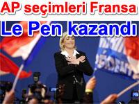 Le Pen kazandı:Fransa'da  Avrupa Parlamentosu seçimlerinden Marine Le Pen'in Ulusal Cephe Partisi National Front birinci parti olarak çıktı