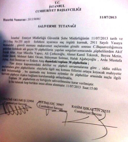Taksim Dayanışması iddianame salıverme tutanağı