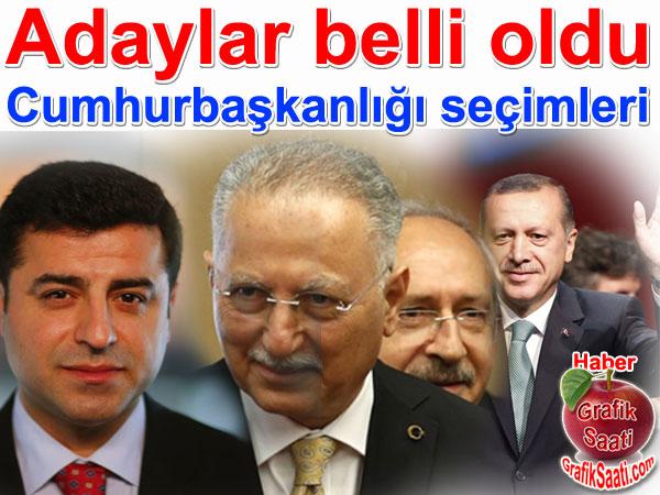 Cumhurbaşkanı adayları: Ekmeleddin İhsanoğlu, Recep Tayyip Erdoğan, Selahattin Demirtaş